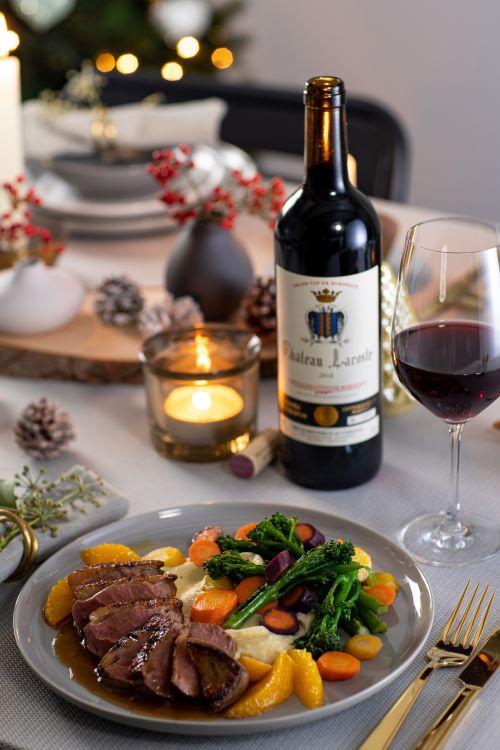 Kerstgerechten en wijn